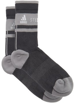 adidas by Stella McCartney Logo-jacquard Recycled-fibre-blend Socks - Grey Multi
