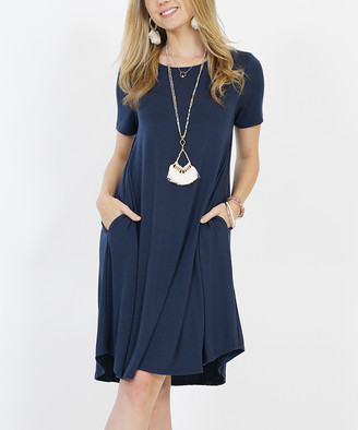 Lydiane Women's Casual Dresses MIDNIGHT - Midnight Crewneck Short-Sleeve Curved-Hem Pocket Tunic Dress - Women