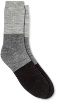 Merona Women's Crew Socks Gray Color Block Brushed for Warmth One Size