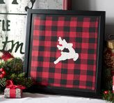 Pottery Barn Framed Embroidered Stag Textile Wall Art