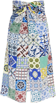 Rokh Twist-front Patchwork-effect Printed Silk Crepe De Chine Skirt