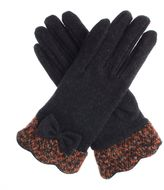 Dents Boucle Cuff Gloves With Bow