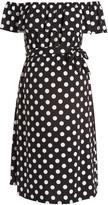 Glam Hello Miz Black & White Dot Ruffle Maternity Off-Shoulder Dress