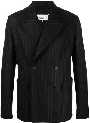 Maison Margiela Double-Breasted Pinstriped Blazer