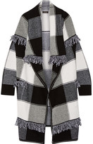 Burberry Fringed Checked Wool And Cashmere-blend Cardigan - Black