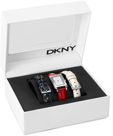 DKNY Watch Set, Women's Interchangeable Red, Black and White Leather Straps 28x22mm NY8726