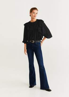MANGO Ruffled embroidered blouse black - 2 - Women