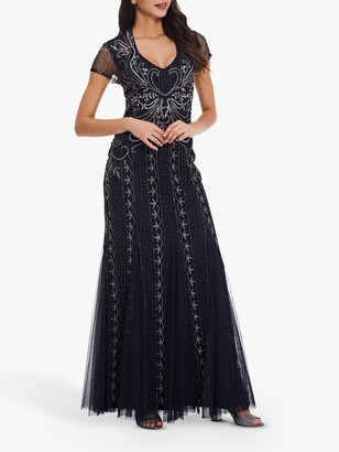 Adrianna Papell Beaded Sleeve Open Back Gown, Midnight