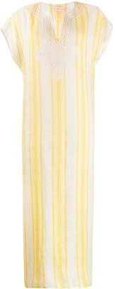 Tory Burch Short Sleeve Striped Kaftan Dress