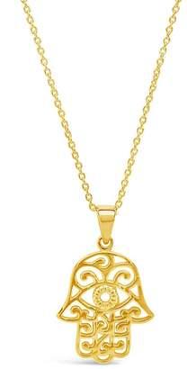 Sterling Forever 14K Yellow Gold Vermeil Filigree Hamsa Hand Pendant Necklace
