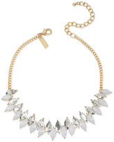 INC International Concepts Gold-Tone White and Metallic Marquise Stone Choker Necklace, Only at Macy's