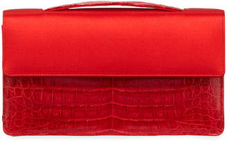 Nancy Gonzalez Small Satin Crocodile Evening Clutch Bag