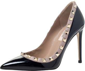Valentino Black Patent Leather Rockstud Trim Pointed Toe Pumps Size 34.5