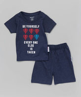 Silly Souls Navy Blue ' Be Yourself' Tee & Shorts - Toddler & Boys