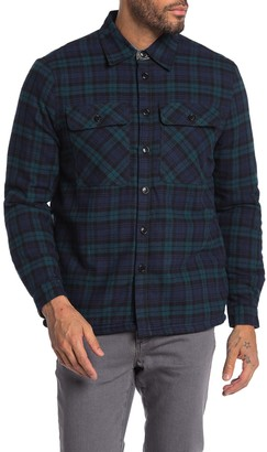 Natural Blue Faux Shearling Lined Plaid Shirt