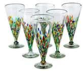 Artisan Crafted Handblown Glass Pilsner Cocktail Drinkware , 'Multicolor Specks'