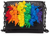 Nancy Gonzalez Floral Rainbow Crocodile Crossbody Bag