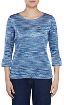 Allison Daley Space-Dyed 3/4 Roll-Tab Sleeve Knit Top