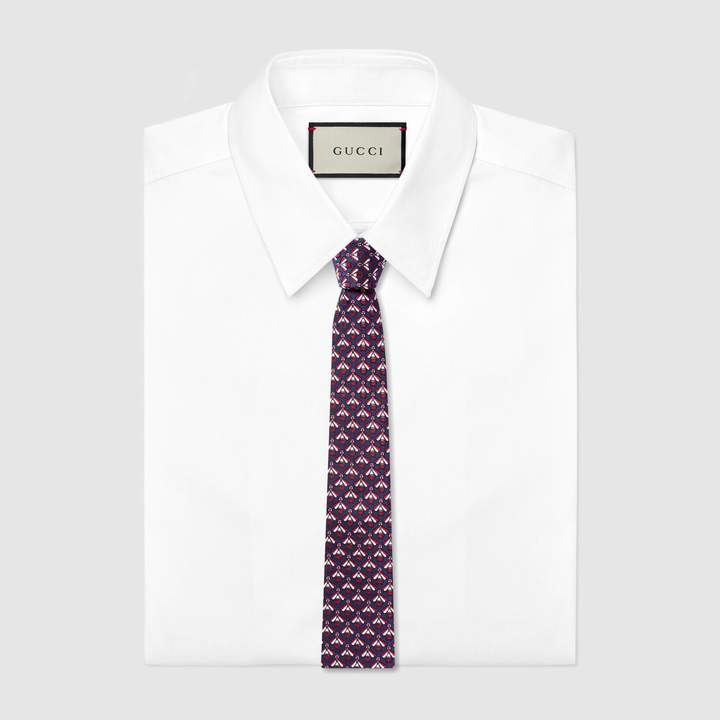 Gucci Bees pattern silk cotton tie