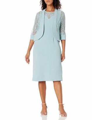 Maya Brooke Women's Lace Jacket and Knit Set Dress