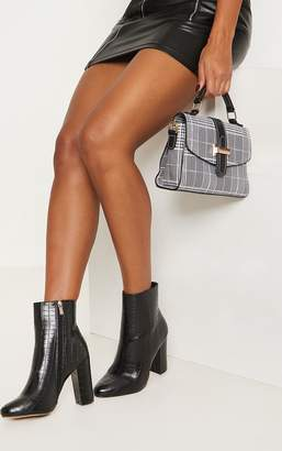 PrettyLittleThing Behati Black Faux Croc Ankle Boot