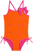 Pink Platinum Coral & Pink Chevron Bow One-Piece - Infant & Toddler