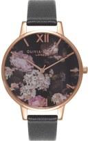 Olivia Burton 'Winter Garden' Leather Strap Watch, 38mm