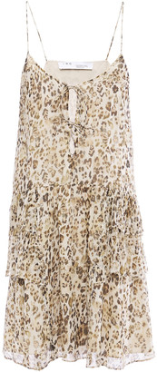 IRO Buzon Tiered Lace-up Leopard-print Silk-chiffon Mini Dress