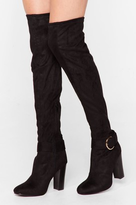Nasty Gal Womens Just Our Buck-le Faux Suede Over-the-Knee Boots - Black