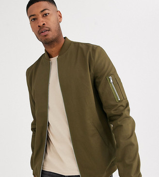 Asos DESIGN Tall bomber jacket with MA1 pocket in khaki