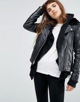 Goosecraft Leather Jacket With Faux Fur Collar