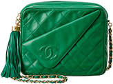 Chanel Green Quilted Lambskin Leather Small Camera Bag