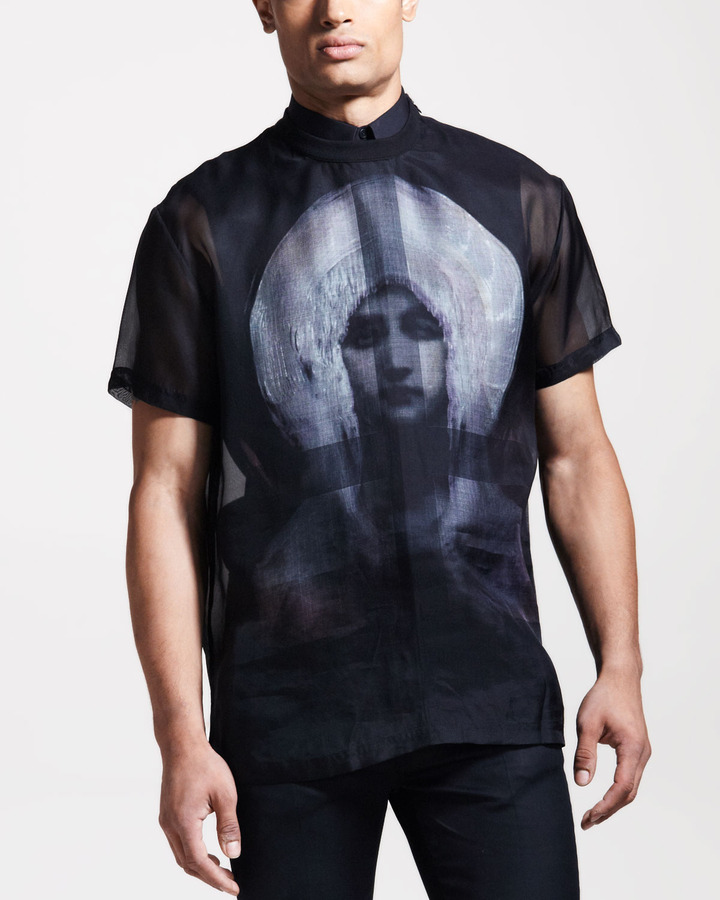 Givenchy Madonna-Print Organza Tee