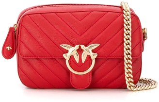 Pinko Love quilted logo plaque cross body bag