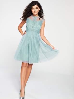 Little Mistress Mesh Skater Dress - Blue