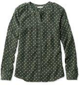 L.L. Bean Signature Collarless Long-Sleeve Shirt, Black Spruce Print