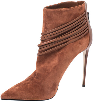 Le Silla Brown Suede Strap Embellished Detail Ankle Booties Size 40