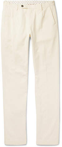 Massimo Alba Slim-fit Tapered Pleated Cotton And Cashmere-blend Trousers - Off-white