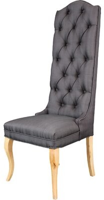 One Allium Way Oshawa Tufted Linen Upholstered Wingback Parsons Chair in Oak