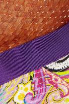 Etro Woven pandanus and printed cotton fedora