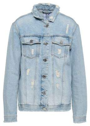 Zoe Karssen Appliqued Distressed Denim Jacket