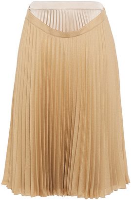 Burberry Layered Pleated Crepe De Chine Skirt