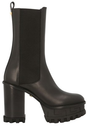 Versace Leather heeled ankle boots