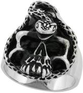Sabrina Silver Surgical Steel Biker Skull Ring with Snake 1 3/16 inch, size 12
