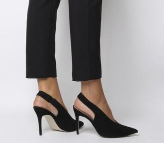 Office Mistress Slingback Point Heels Black Nubuck