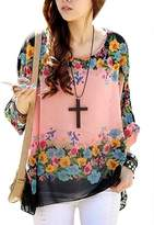 Rokou Womens Bohemian Floral Batwing Sleeve Plus Chiffon Oversize Loose Off Shoulder Blouse 4242