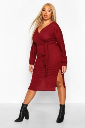 boohoo Plus Soft Rib Belted Wrap Midi Dress