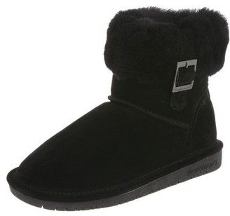 BearPaw Abby Suede Ankle Bootie with Sheepskin Collar (Women's)