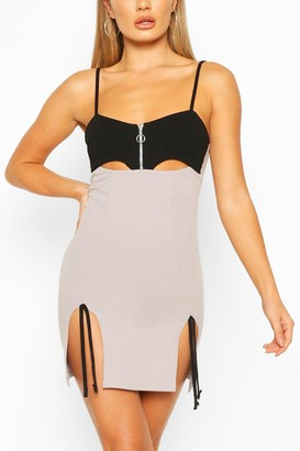 boohoo Cut Out Mini Dress With Side Split Detail