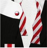 Bestow Fashion Striped Bow Tie Set - Cufflinks Hanky